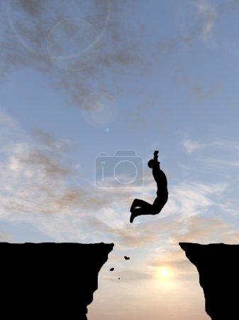 Photo pour Concept ou conceptuel jeune homme ou homme d'affaires silhouette saut heureux de falaise sur fond de ciel coucher de soleil ou lever de soleil gap - image libre de droit