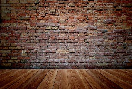 Floor and brick wall