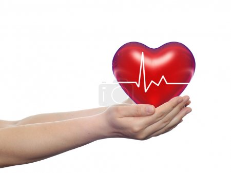 Concept or conceptual 3D red human heart sign or s...