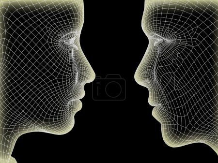 Photo for High resolution concept or conceptual 3D wireframe human male or female head isolated on black background - Royalty Free Image