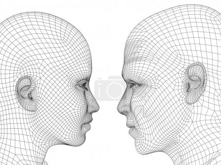 wireframe human male or female heads