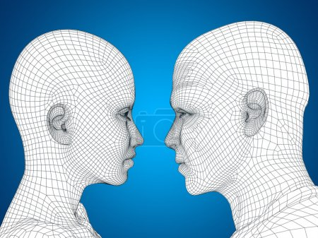 conceptual wireframe  heads