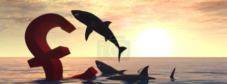 Photo pour Symbole livre sanglant conceptuel de haute résolution ou signe naufrage dans l'eau ou la mer, avec les requins noirs manger bannière fond - image libre de droit