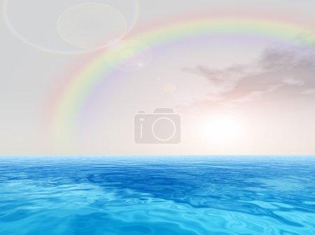 Photo pour Concept à haute résolution ou vagues d'eau de mer ou d'océan conceptuelles et ciel avec paysage nuageux arc-en-ciel fond exotique ou paradisiaque - image libre de droit