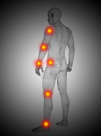 human body with pain spots
