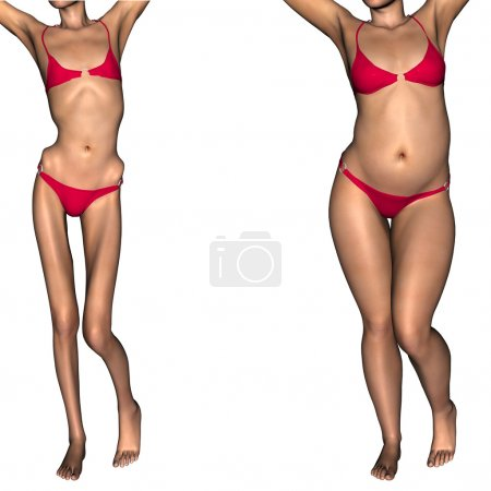 Concept or conceptual 3D woman or girl as fat, overweight and fit healthy, skinny underweight anorexic female befor and after diet
