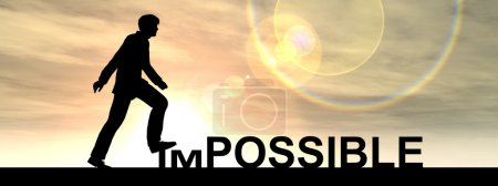 Businessman  stepping over impossible or possible text