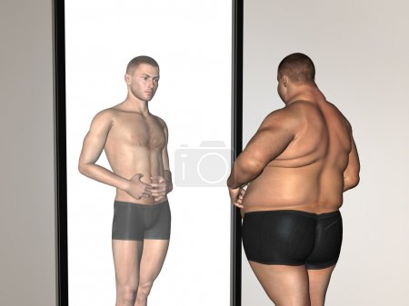 Photo for Concept or conceptual 3D fat overweight vs slim fit with muscles young man on diet reflecting in a mirror - Royalty Free Image