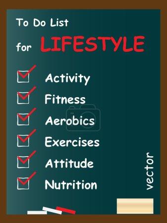 Lifestyle To do list on blackboard