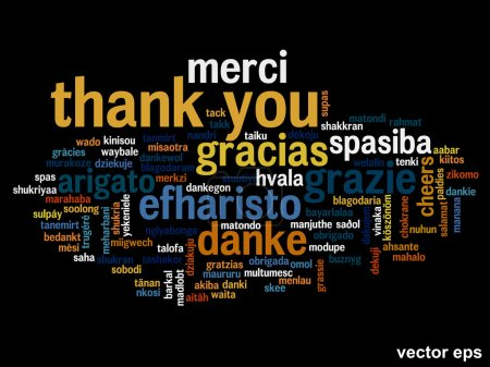 Illustration for Conceptual thank you word cloud isolated for business or Thanksgiving Day - Royalty Free Image