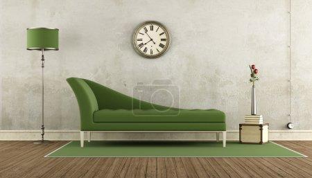 Photo pour Salon rétro vert et blanc avec canapé classique - rendu 3d - image libre de droit