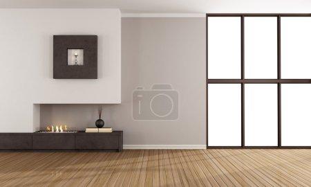 Foto de Habitación con chimenea minimalista y ventana - Imagen libre de derechos