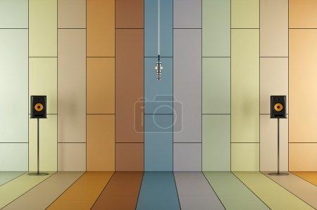 Photo pour Microphone professionnel dans un studio d'enregistrement avec panneau acoustique coloré et haut-parleurs - rendu 3D - image libre de droit