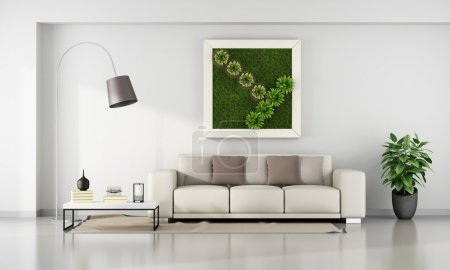 Living room with  vertical garden in frame