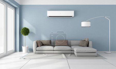 Photo for Blue living room with  gray sofa and air conditioner on wall - 3D Rendering - Royalty Free Image