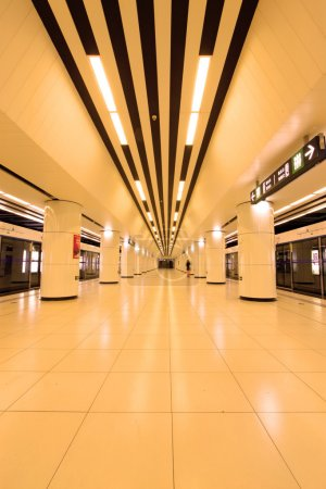 Modern hall in Beijing subway station, China...