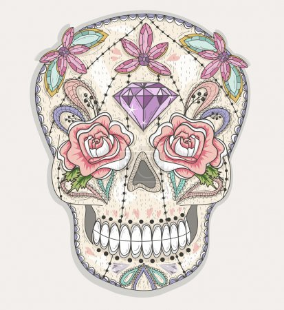 Cute mexican skull. Colorful skull with flower, gem, hearts