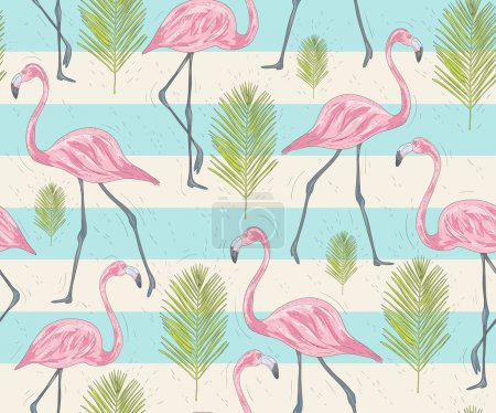 Cute seamless pattern with flamingos and palm. Vector background