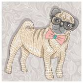 Hipster pug with glasses and bowtie Cute puppy illustration for