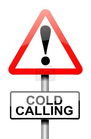 Foto de Ilustración que representa una señal de advertencia con un concepto de llamada en frío. - Imagen libre de derechos