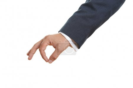 mans hand on white background