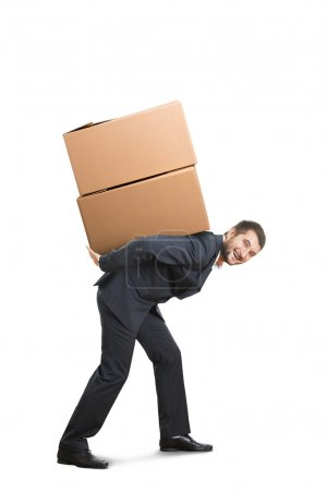 man holding packages on the back