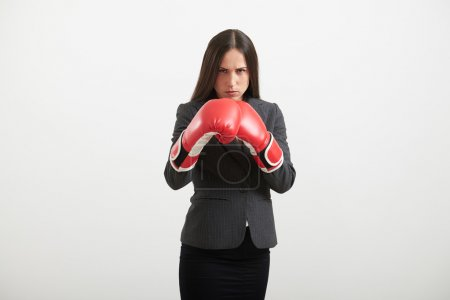 woman standing in boxing pose