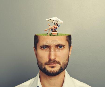 woman in mans head