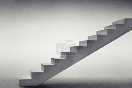 Photo for Concrete stairs in grey empty room - Royalty Free Image