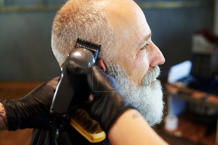 Photo for Sideview portrait of senior bearded man in professional barbershop. barber shaving beard with electric razor - Royalty Free Image