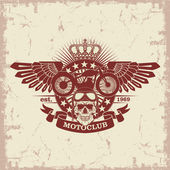 Stamp Moto club with  skull