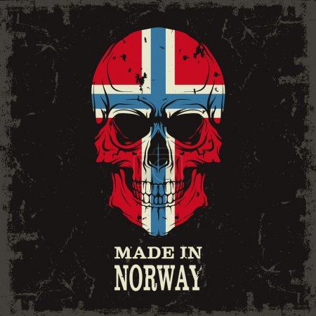 Skull with Norway flag