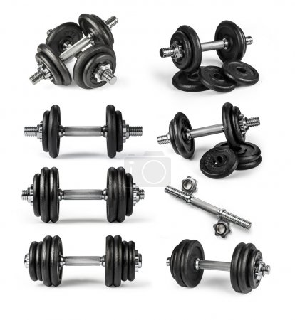 Photo for Set of dumbbells over white background. - Royalty Free Image
