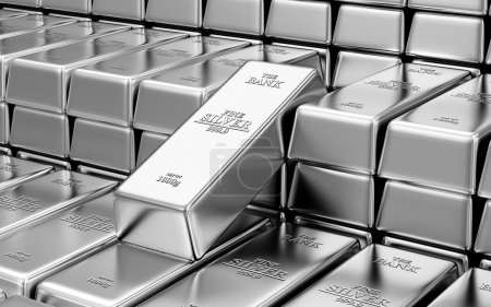 Foto de Business, Financial, Bank Silver Reserves Concept. Stack of Silver Bars in the Bank Vault Abstract Background - Imagen libre de derechos
