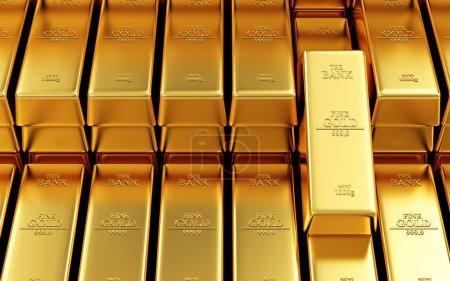 Photo pour Business, Financial, Bank Gold Reserves Concept. Stack of Golden Bars in the Bank Vault Résumé Contexte - image libre de droit
