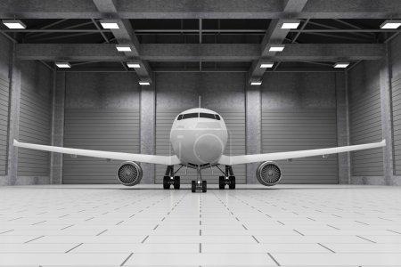 Modern Hangar Interior with Airplane Inside