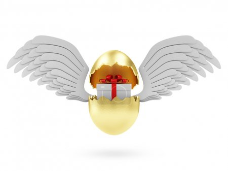 Foto de Happy Easter Concept. Big Broken Golden Egg with Gift Box Inside and Angel White Wings isolated on white background - Imagen libre de derechos