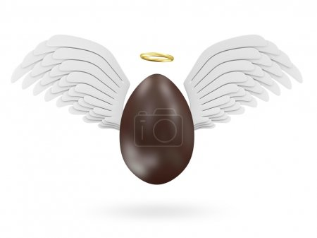 Foto de Happy Easter Concept. Big Chocolate Easter Egg with Angel White Wings and Golden Nimbus isolated on white background - Imagen libre de derechos