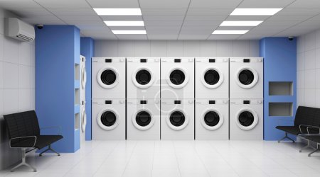 Laundry Interior with Washing Machines and Seats