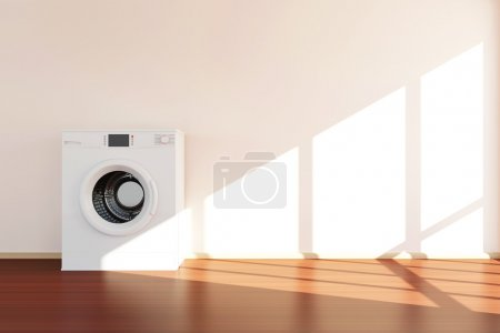 modern washing machine in room