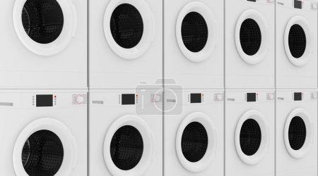 Row of Modern Washing Machines