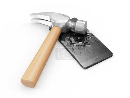 Hammer and SmartPhone with broken screen