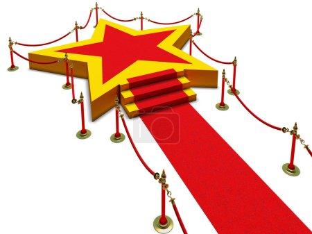 Podium star, stairs and red carpet