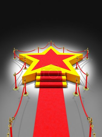 Podium star shape, stairs and red carpet