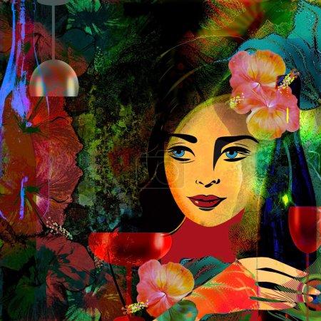 Photo pour Visage de femme stylisé sur un fond coloré, fond de menu . - image libre de droit