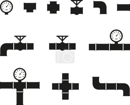 Illustration pour Ensemble de tuyaux de détails noirs - image libre de droit
