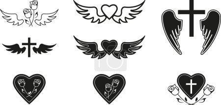Illustration for Set of black funeral symbols - Royalty Free Image
