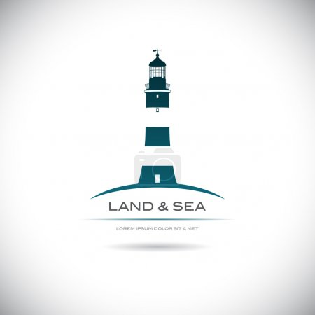 Label with a picture of the lighthouse