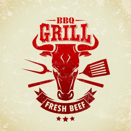 Illustration for Vintage BBQ Grill Party - Royalty Free Image