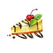 Akvarelu skica třešňový tvarohový dezert. Ilustrace izolované potravin